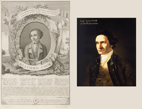 Left: Engraving of a youthful-looking 'Giacomo Cook' by Allesandro Contardi. Right: Portrait of Captain James Cook by artist William Hodges in about 1775.