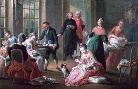 Painting by Jan Garemijn that shows a family at afternoon tea in about 1778