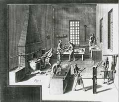 Illustration from a 1750s encyclopaedia that shows how silk threads were dyed