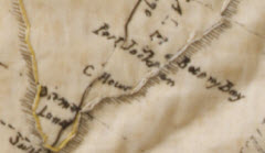 Detail of an embroidered map of the eastern hemisphere of the world that shows how the maker has reversed the positions of Botany Bay and Port Jackson