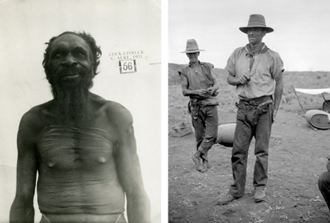 Image at left: Aboriginal man, Kamalyarrpa Japanangka. Image at right: Non-Aboriginal man, Jack Saxby