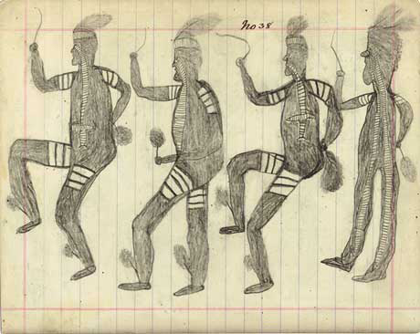 Page from notebook headed 'No.38' and depicting four male figures in costume dancing.