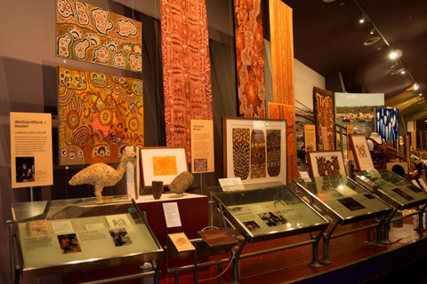 First Australians display featuring a range of material from Ernabella, Northern Territory.