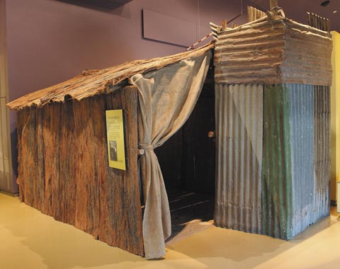 Bark mission hut in the First Australians gallery.