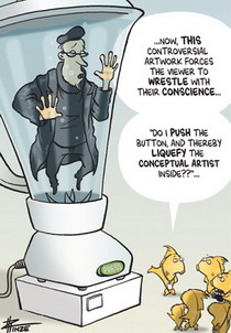 Cartoon of a fish giving a tour of an exhibition which includes a conceptual artist in a blender.