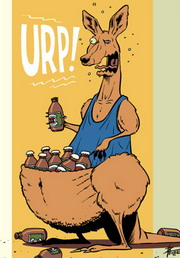 Cartoon of a large ocker kangaroo with a pouch full of beer, burping.