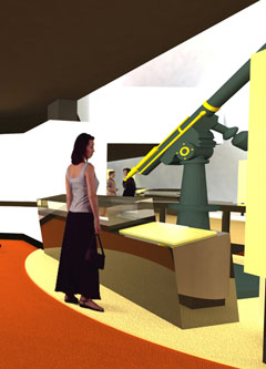 A woman stands looking at a large green telescope.