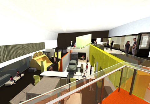 3D visualisation from the concept design of the gallery, showing visitors moving among exhibits.