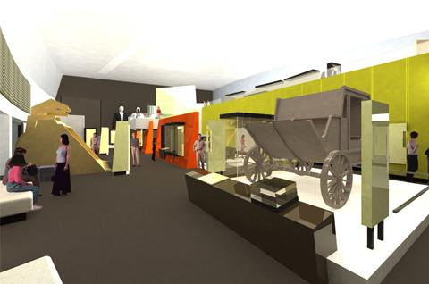 3D visualisation from the concept design showing visitors in a museum gallery, with a wooden mail coach in the foreground.