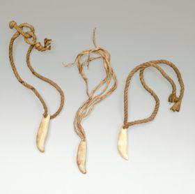 Pendants made of shell, bone, or tooth material threaded with thick twisted cord.