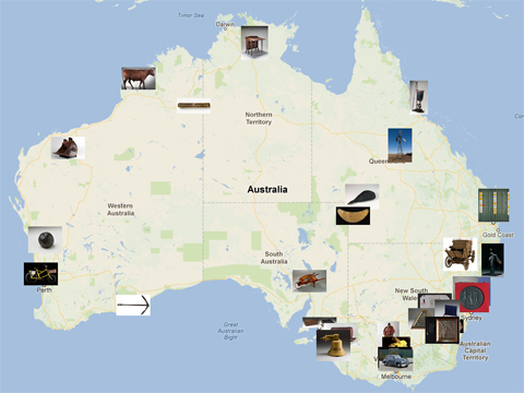 Map of Australia indicating places and objects featured in the Landmarks gallery.