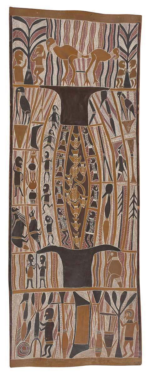 A bark painting worked with ochres on bark. The central panel depicts a double anvil shape between which are images of human figures and fish. The top panel depicts two birds in the centre with on each side. The lower panel features two human figures, a canoe, trees and tools. - click to view larger image