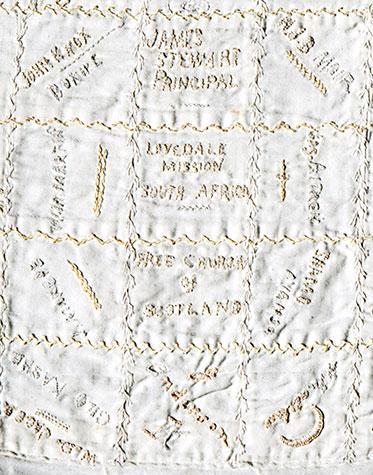 Detail of autograph quilt
