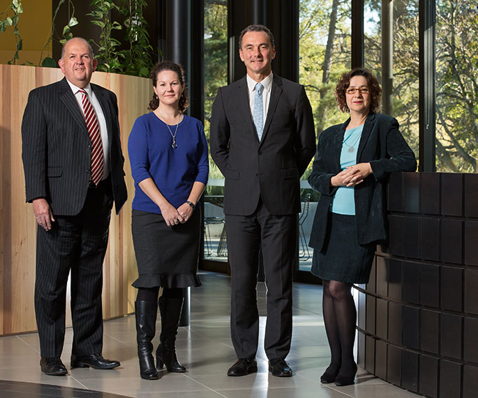 The National Museum of Australia's executive management group (left to right): Graham Smith, Rebecca Coronel, Mathew Trinca and Helen Kon