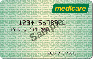 A recent version of the Medicare card