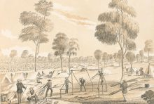 Black and white sketch showing a group of men working around the wooden frame of a tent. Gum trees are dispersed among a landscape of other tents and men in the distance.