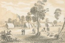 Black and white illustration showing a landscape view of a seven tents erected near a large British flag, flying among gum trees. Several men are gathered in small groups and another rides a horse.