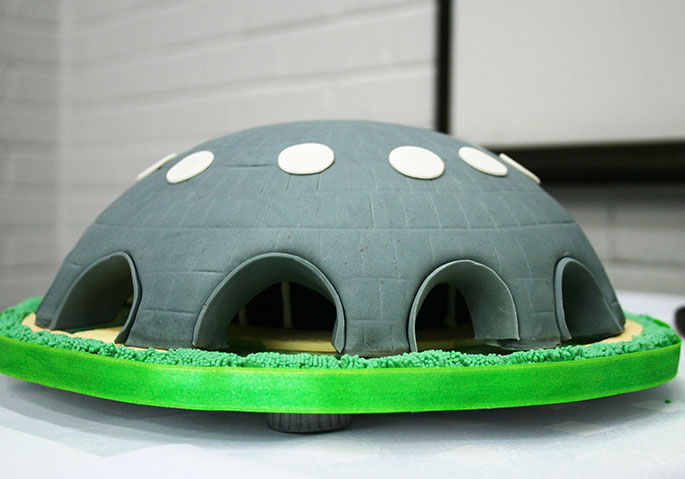 Shine Dome cake replica on show