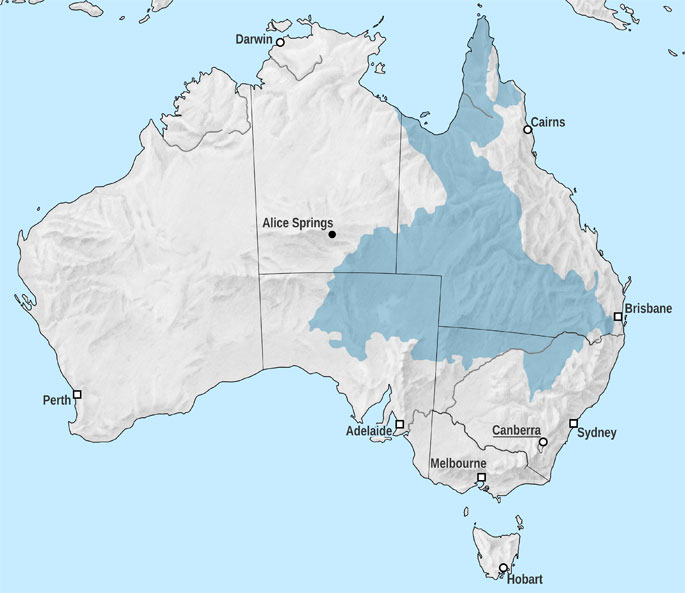 Map of Australia showing the Great Artesian Basin, which covers most of Queensland and stretches into the Northern Territory, South Austrlaia and New South Wales.