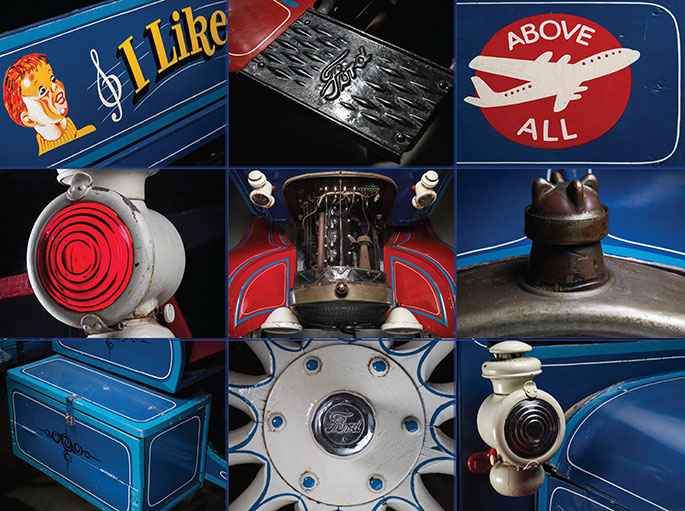 A compilation of images showing details from the Aeroplane Jelly truck including a Ford wheelhub, lanterns, engine and painted advertising slogans.