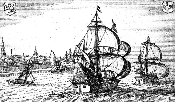 Two Dutch East Indiamen at sea with a walled town on their port side.