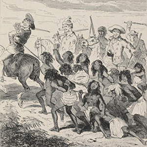 Australian Aborigines Slaughtered by Convicts, by Phiz, The Book of Remarkable Trials, 1840; Chronicles of Crime V. II, 1841