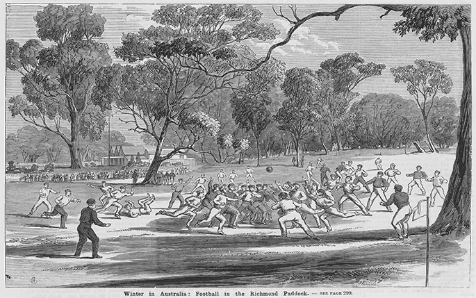 Sketch of an early Australian Rules match in Richmond