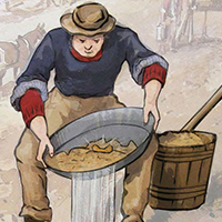 A man panning for gold.