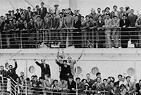 Crowd on ship