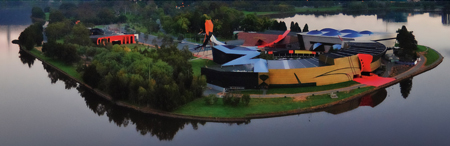 Aerial view of the Museum on Acton Peninsula.