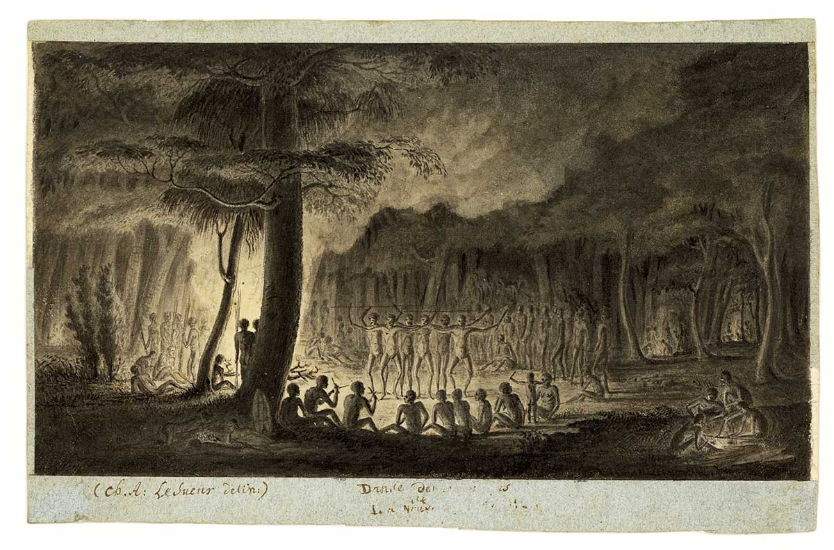 Pencil on paper drawing of Aboriginal men dancing near fire. - click to view larger image