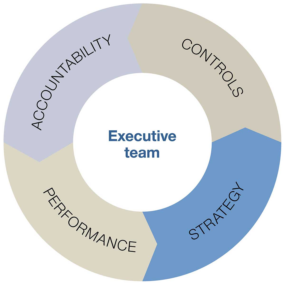 Doughnut chart divided into four equal sections labelled: 'Accountability', 'Controls', 'Strategy', 'Performance'. The centre of the doughnut is labelled 'Executive team'. - click to view larger image