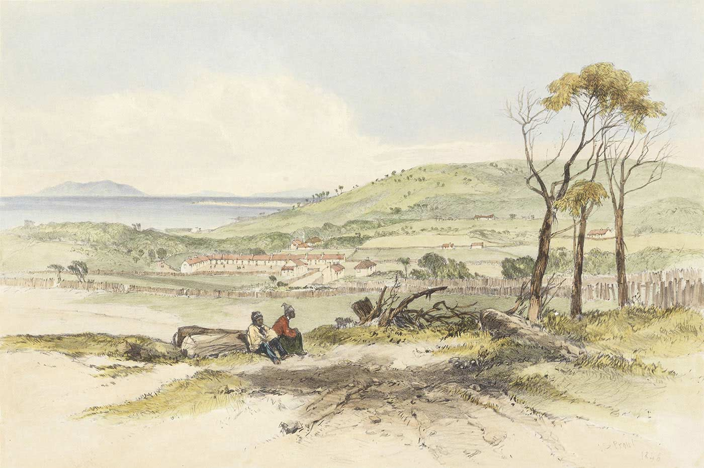 watercolour showing two Aboriginal people sitting in a clearing with a small settlement in the background and the sea beyond.