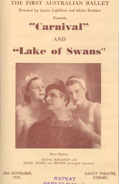 The program's cover is dominated by a photo of three performers. A man is at the centre and a woman is leaning on each of his shoulders. - click to view larger image