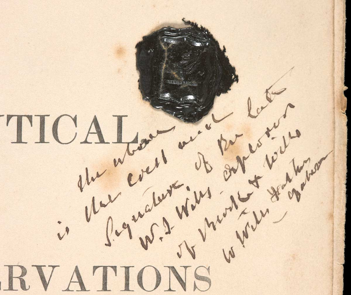 Detail of Georg von Neumayer's Observations showing William Wills' name and black wax seal, dated 31 July 1860.