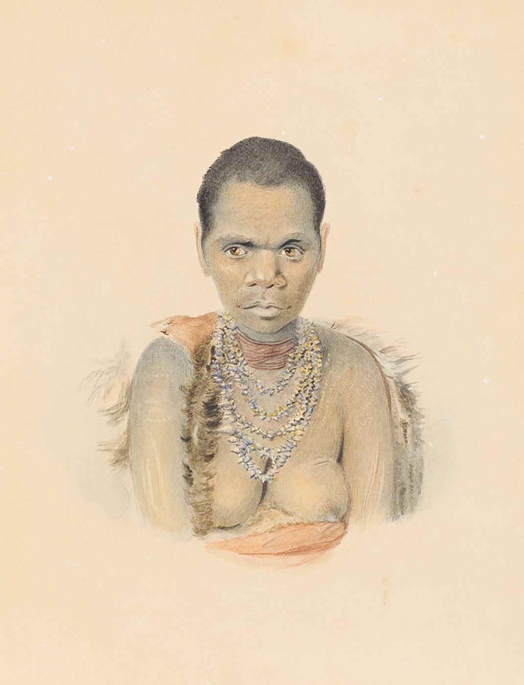 A detailed illustration of an Indigenous woman. She is wearing a cloak of fur and orange fabric and a necklace made of shells looped five times around her neck. - click to view larger image