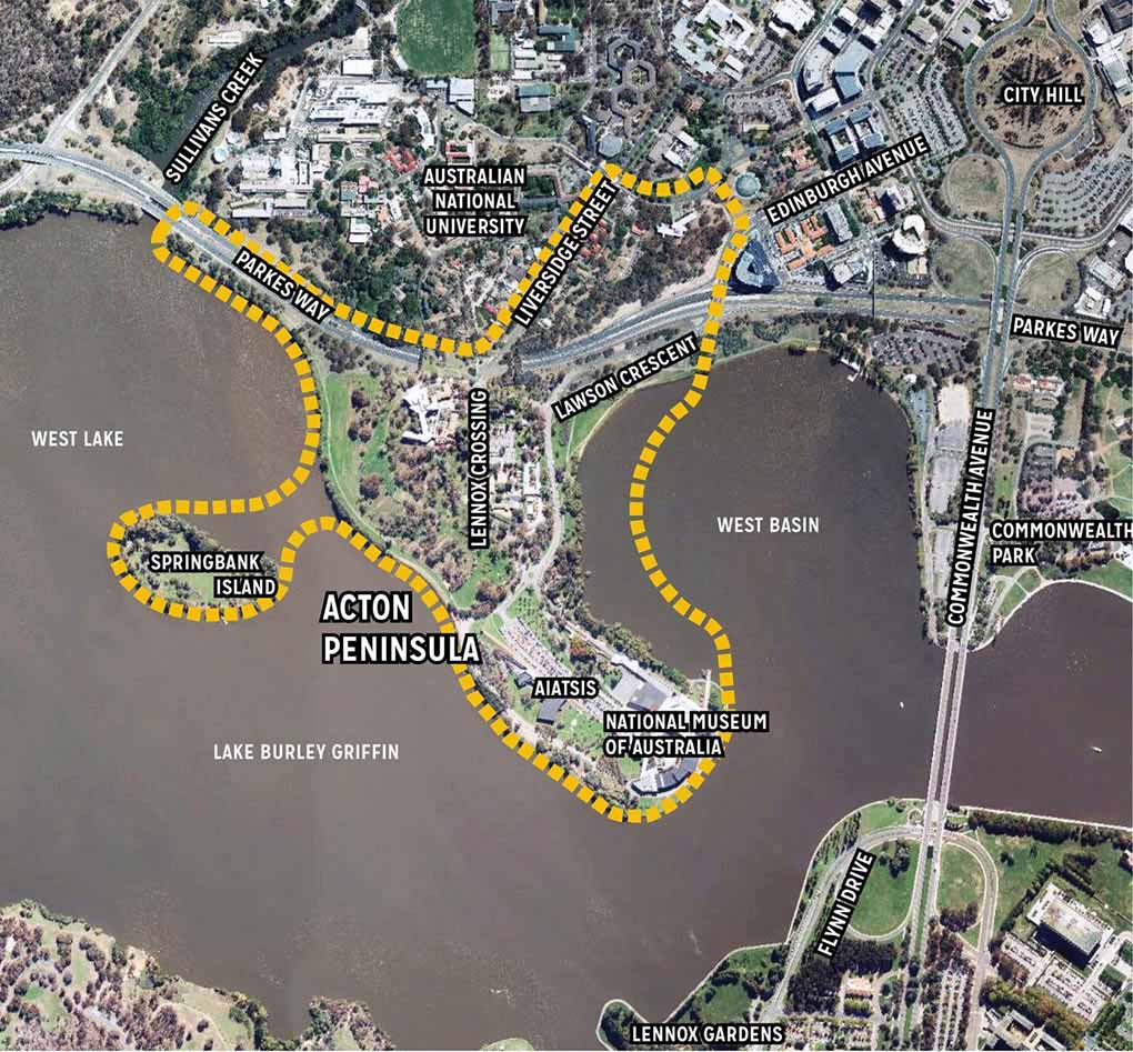 Aerial map of Acton Peninsula bounded in a yellow dashed line and including the National Museum of Australia, AIATSIS, Lennox Crossing, Springbank Island, Lawson Cres, Parkes Way and Liversidge Street.
