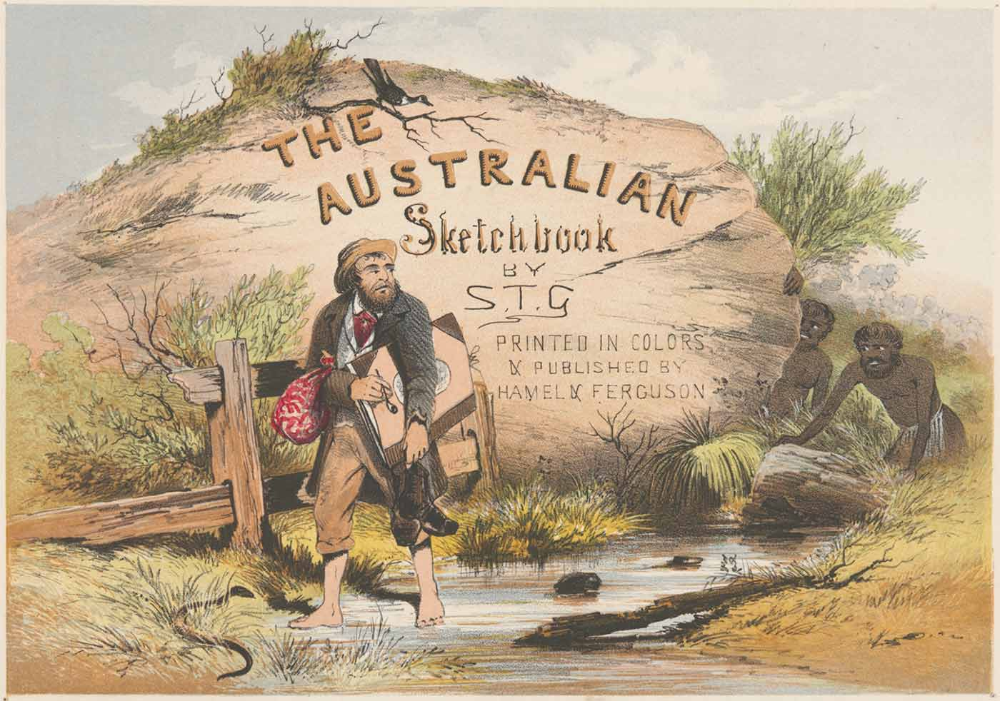 Title page featuring the text 'The Australian Sketchbook by S.T.G'. A bearded man in period clothing is walking barefoot and carrying his shoes and a large book. He is looking back over his shoulder at two men who are hiding behind a large rock. - click to view larger image