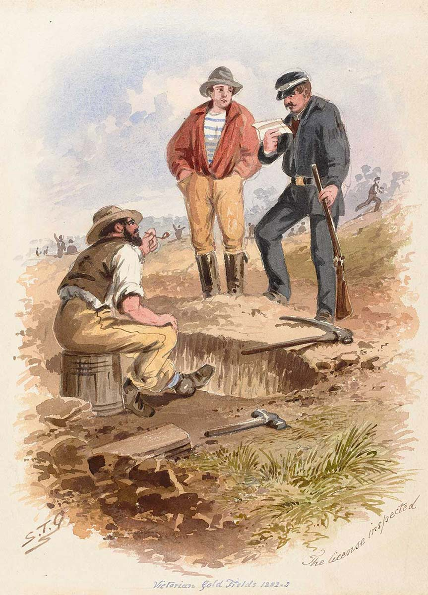 Colour painting showing a law enforcement officer in dark blue uniform and cap looking at a small piece of paper. He has a rifle gun in one hand and stands beside a large hole in the ground. He is with two men, one standing with hands in pockets, the other sitting smoking a pipe.  - click to view larger image