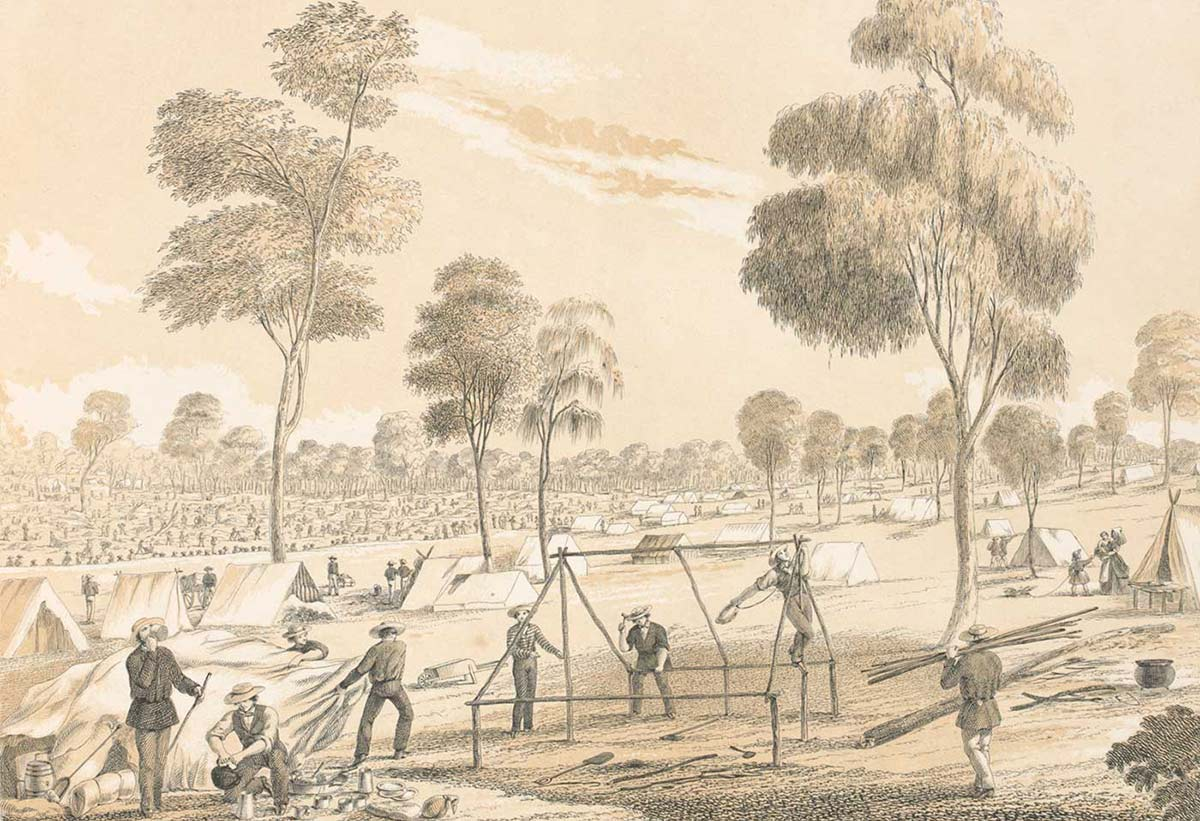 Black and white sketch showing a group of men working around the wooden frame of a tent. Gum trees are dispersed among a landscape of other tents and men in the distance. - click to view larger image