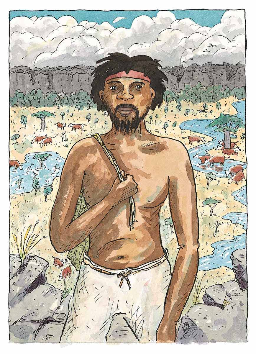 Colour illustration of an Aboriginal man wearing white pants, a red headband and no shirt. Cows graze in the distance. - click to view larger image
