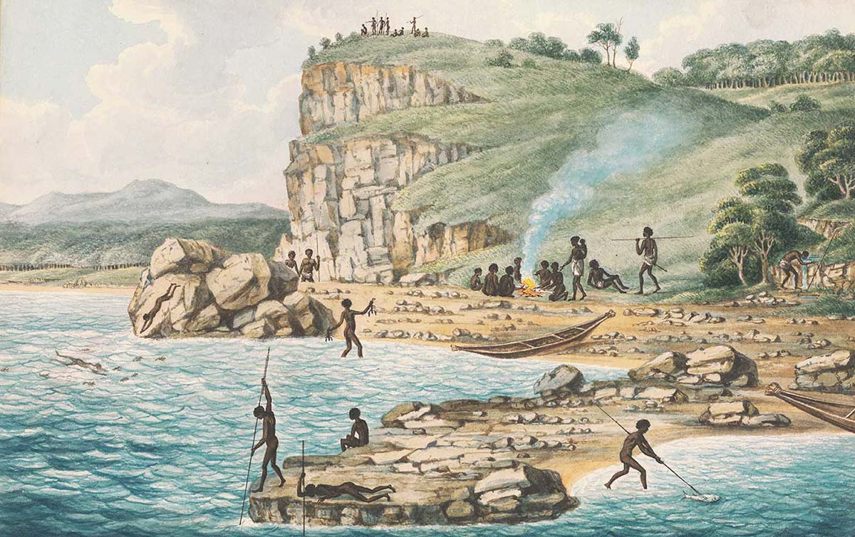 A drawing from 1817 showing Aboriginal people fishing and diving on the New South Wales coast. - click to view larger image