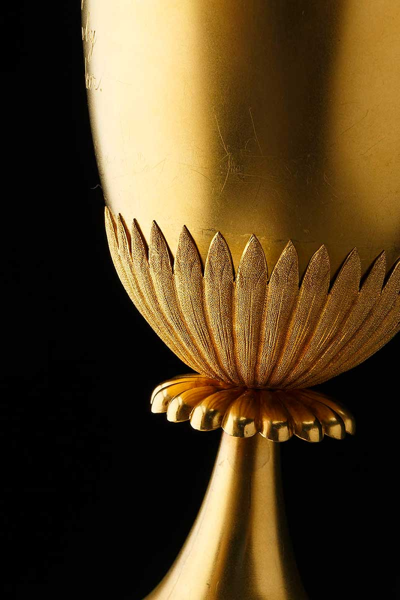 Detail of gold trophy showing body of a presentation cup - click to view larger image