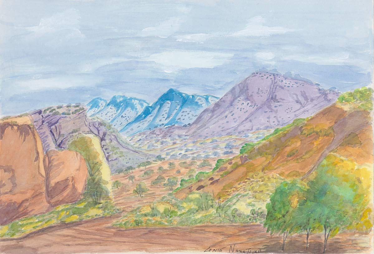 A watercolour landscape painting on paper of mountains in brown, blue and purple - click to view larger image