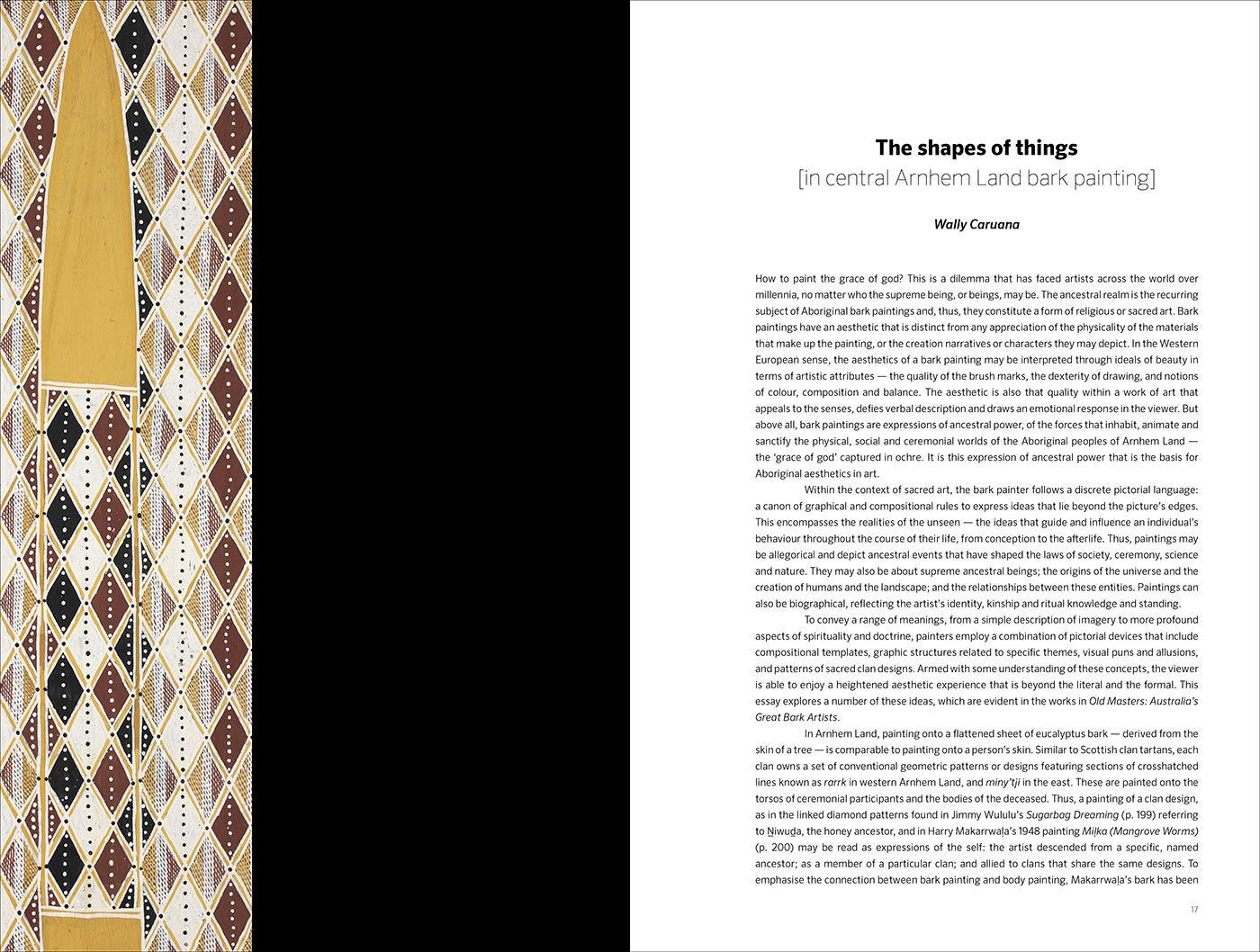An image of page one from the Old Masters catalogue. It includes an Indigenous bark painting and text. - click to view larger image