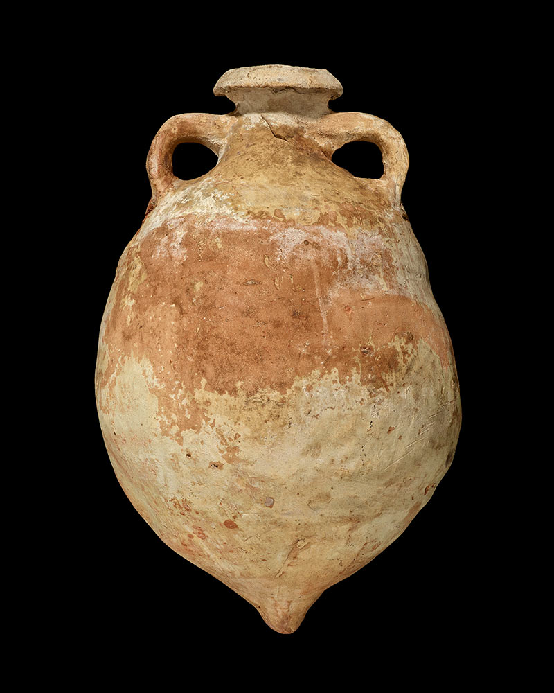 A terracotta vessel with handles and a small opening at the top. - click to view larger image