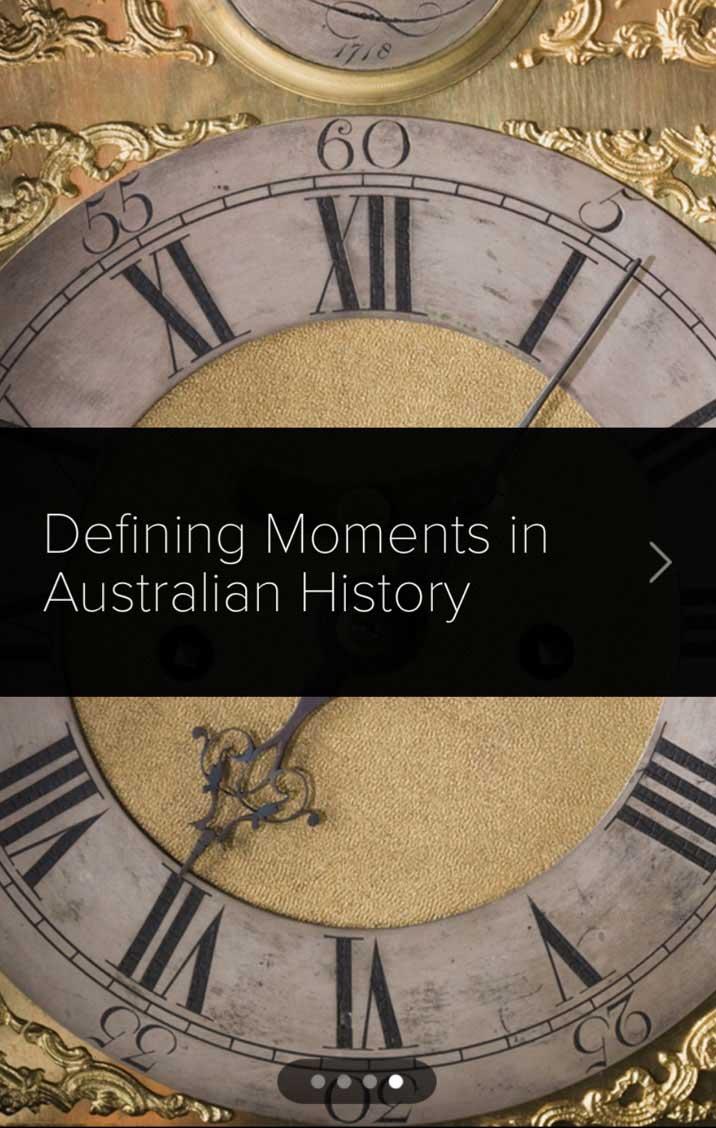 Screen shot of Defining Moments in Australian History splash screen