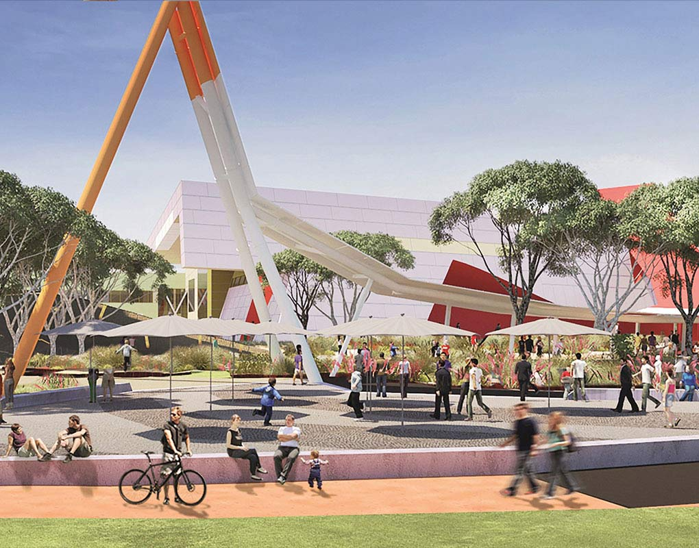 An architect's impression of the Museum's redesigned forecourt featuring varied forms, colours and textures of the Australian bush. - click to view larger image