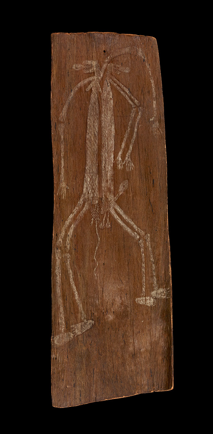 A bark painting of a human figure in white pigment on a dark background. - click to view larger image
