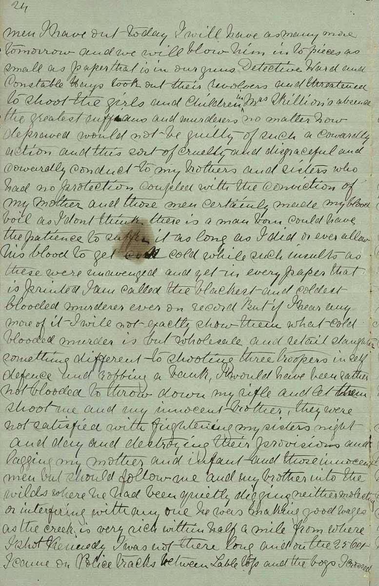 Page twenty four of Ned Kelly's Jerilderie letter. - click to view larger image